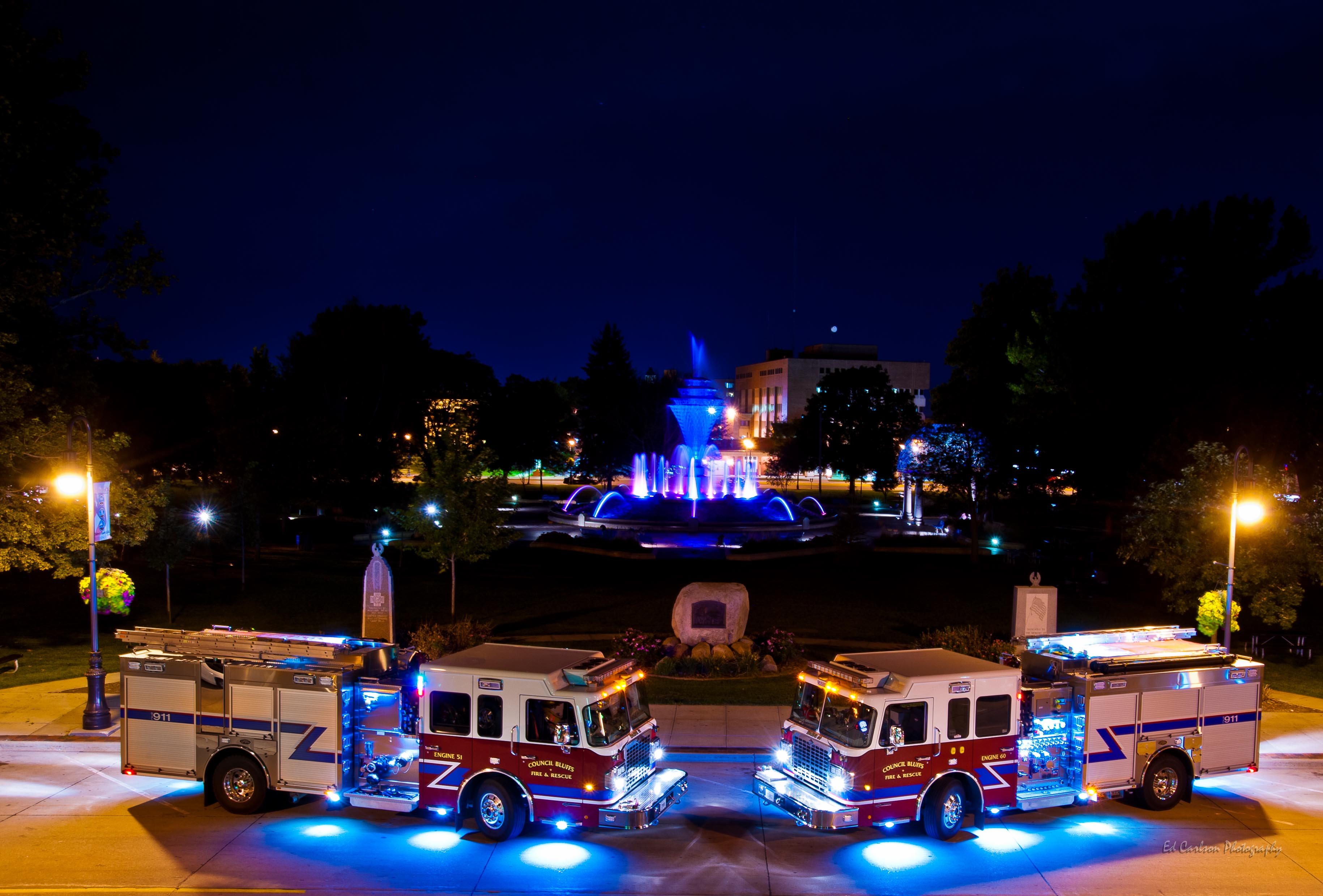 CB Fire Department Night Display